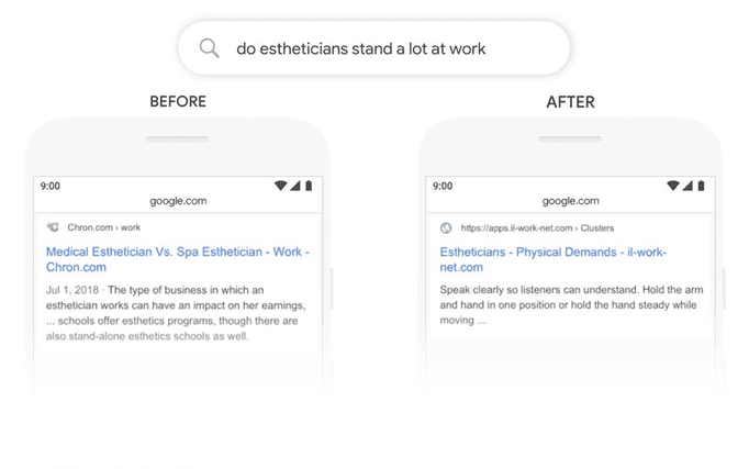 """Mobile search screenshot of """"do estheticians stand a lot at work"""" results before and after BERT update"""